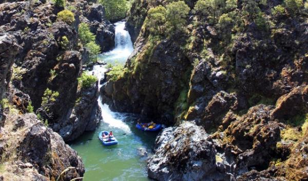 The deep basalt walls of Mule Creek Canyon are near the beginning of the Rogue River's wilderness section.
