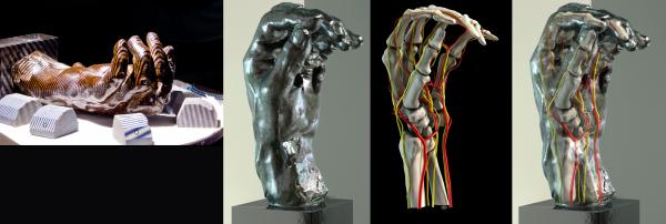 Rodin's <em>Left Hand of Eustache de St. Pierre</em>, during the scanning process (from left); computer image created from the scan; inner anatomy; and exterior scan and inner anatomy combined for an augmented reality view of the sculpture.