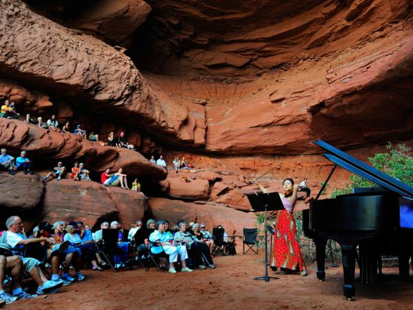 At the Moab Music Festival in Utah, summer night performances take place in picturesque settings.