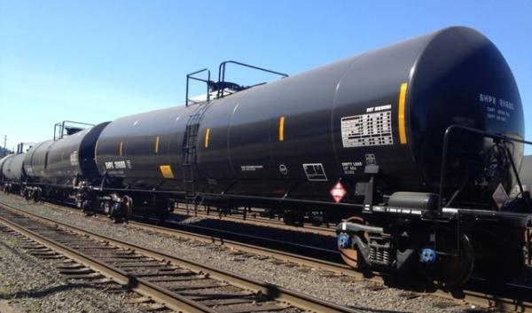 Tank cars carrying crude oil at BNSF Railway's Willbridge Yard in Northwest Portland. BNSF Trains carry Bakken crude through Washington and into Portland, where they transfer to a shortline headed to a terminal in Clatskanie, Oregon.