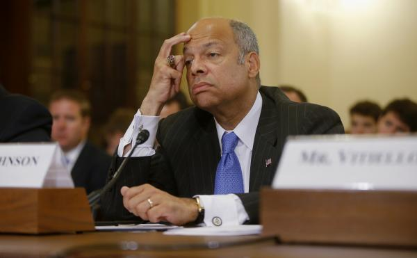 Homeland Security Secretary Jeh Johnson listens while testifying on Capitol Hill in Washington, on Tuesday.