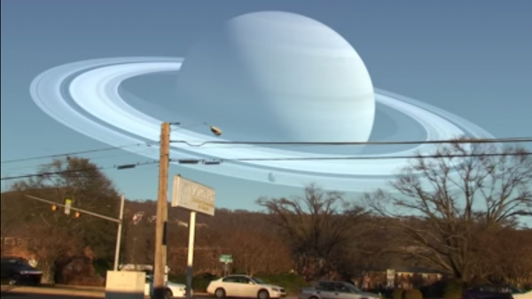 Composite video showing what the Earth's sky would look like if Saturn orbited our planet at the same distance as our moon.