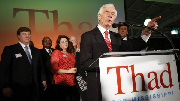 U.S. Sen. Thad Cochran, R-Miss., addresses supporters and volunteers at his runoff election victory party Tuesday at the Mississippi Children's Museum in Jackson.