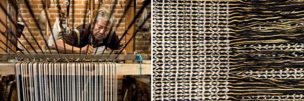 Enrique Antonio Tinoco Jaimes crafts a <em>rebozo</em> on a traditional loom in the <em>rebozo</em> workshop of Don Fermín Escobar in Tenancingo, Mexico. At right, a detail from a <em>rebozo</em>.