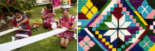 Weavers make <em>huipiles</em>, a detail of which can be seen at right. <em>Huipiles</em> have been worn by indigenous women in Mexico and Central America since before the era of Spanish colonialism.