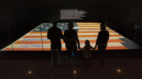 The Star-Spangled Banner — the flag that inspired our National Anthem — on display at the Smithsonian's National Museum of American History.
