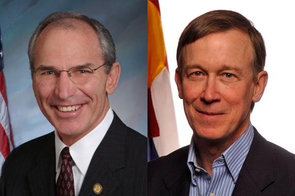 Pictured on the left, GOP challenger Bob Beauprez, on the right, incumbent John Hickenlooper.