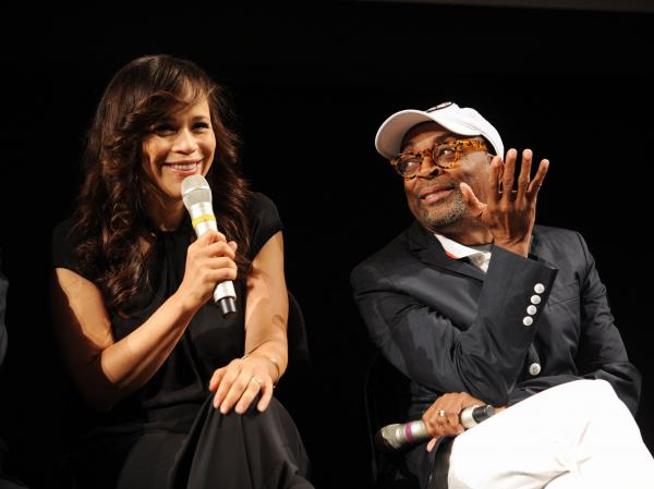 "Rosie Perez and Spike Lee attend The Academy Of Motion Picture Arts And Sciences and BAMcinematek 25th anniversary screening of ""Do The Right Thing"" at BAM Fisher on June 29, 2014 in Brooklyn, New York."