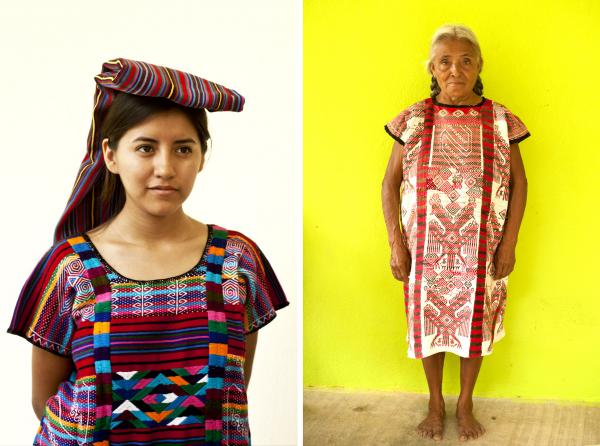 To the left is a fiesta huipil<em> </em>from northern Oaxaca. Carla Fernandez recently visited the region to look for fabrics she might use in future designs; at right, a Quetzalcoatl feathered-serpent fiesta huipil worn by a weaver in San Lucas Ojitlan.