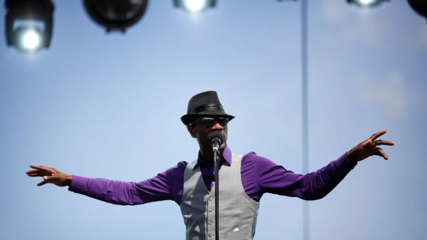 Aloe Blacc performs at the 2011 Sasquatch Music Festival.