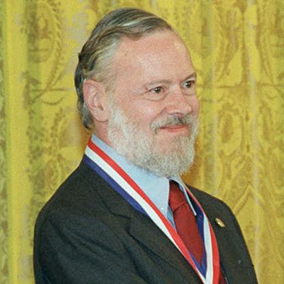 <p>Dennis Ritchie at the 1999 ceremony when he received the National Medal of Technology from President Clinton. </p>