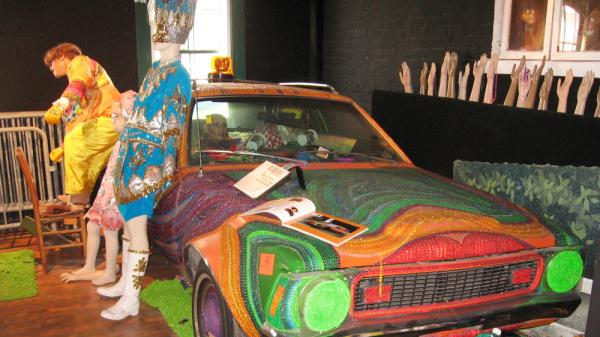 A 1974 Gremlin covered with Mardi Gras beads is part of the auction lot of items from the former Kenner Mardi Gras Museum. The car is expected to draw several bids.