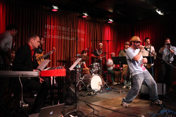 Hermes Ayala (front) and the Afrobeat Collective.