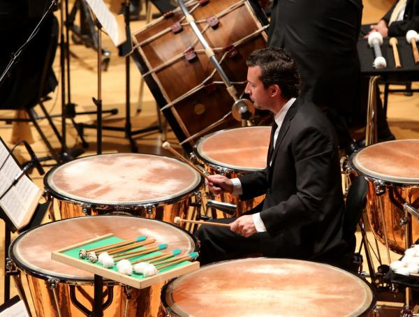 Percussionist Joseph Pereira with his array of mallets for the <em>Rite of Spring</em>.
