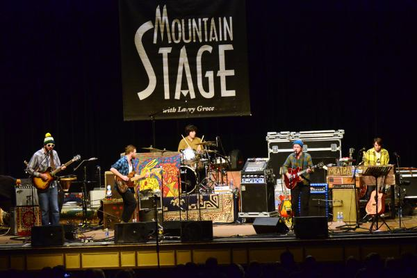Even with a slightly stripped-down setup on <em>Mountain Stage</em>, Dr. Dog's members play a wide variety of instruments.