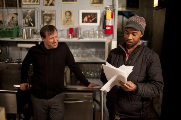 <p>Chris Potter shows Eric Harland some music.</p><p></p>