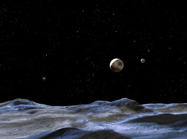"An artist's illustration, which <a href=""http://hubblesite.org/newscenter/archive/releases/2005/19/image/d/"">Hubble Site says</a> shows the Pluto system from the surface of one of its moons."