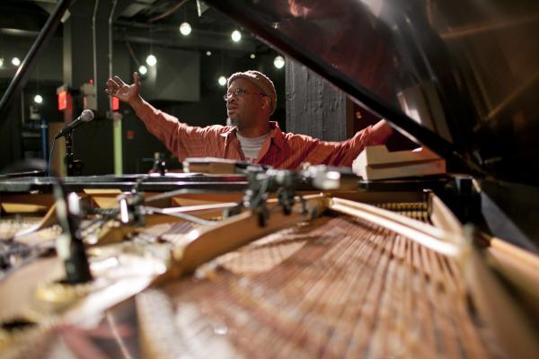 Orrin Evans at soundcheck.