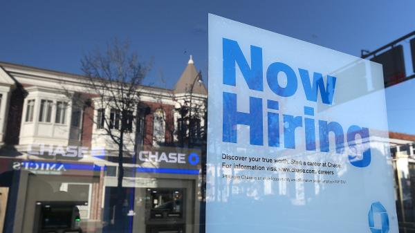 "Hoping to see more of these: A ""now hiring"" sign in the window of a bank in San Rafael, Calif., in January."