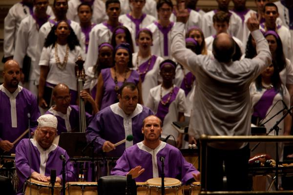 Golijov's <em>Passion</em> calls for sacred Cuban bata drums, plus congas and a battery of Brazilian drums.