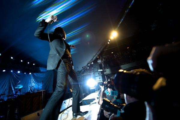 Nick Cave works the crowd like a revival preacher at half-speed during a career-spanning set at NPR Music's SXSW showcase at Stubb's in Austin, Texas.
