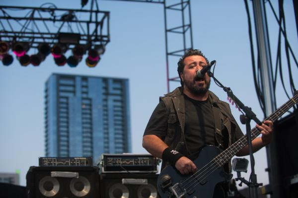 Molotov's Miky Huidobro performs at Auditorium Shores. The Mexico City band mixes politics and <em>rock en </em><em>Español</em>.