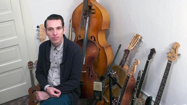 Jherek Bischoff in his home studio.