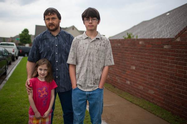 Cary Smith had picked up his son Jordan, 13, and daughter Tia, 5, from school on Monday, right before the tornado came through Moore. He and the family live close to Plaza Elementary, and he ran to the school to help pull a teacher and three kids from the rubble in the aftermath of the tornado.