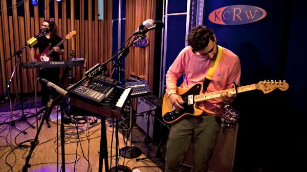 Daniel Zott (left) and Joshua Epstein of Dale Earnhardt Jr. Jr. perform live on KCRW.
