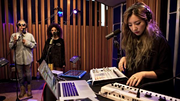 TOKiMONSTA (right) performed on KCRW with vocalists Gavin Turek and MNDR on KCRW's Morning Becomes Eclectic.