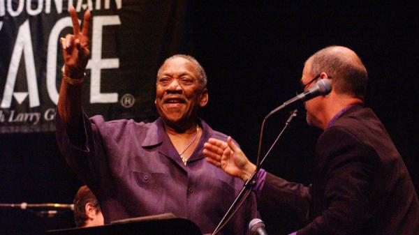 "Bobby ""Blue"" Bland and Larry Groce during the blues singer's appearance on <em>Mountain Stage</em> in 2003."