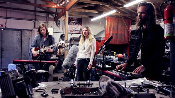 Wild Belle performs for a Field Recordings video at South Bay Customs in El Segundo, Calif.