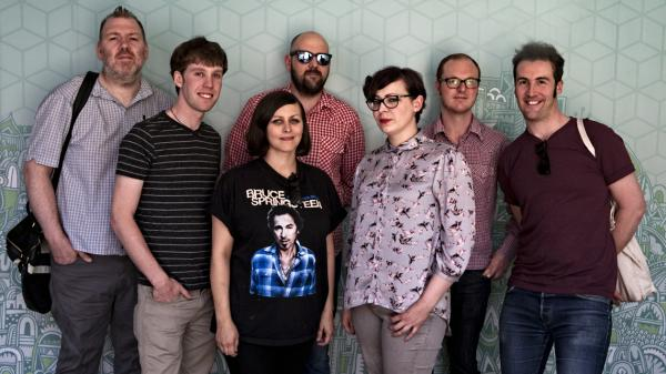 Camera Obscura poses on the set of <em>Morning Becomes Eclectic</em>.