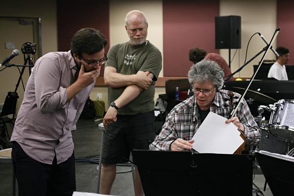 <em>Red Hot + Fela!</em> musical director Stuart Bogie, Kronos production director Laurence Neff and Harrington confer over details.