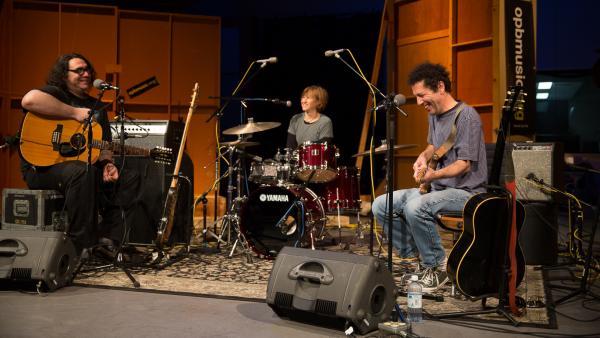 James McNew (left), Georgia Hubley and Ira Kaplan of Yo La Tengo perform live at opbmusic in Portland.