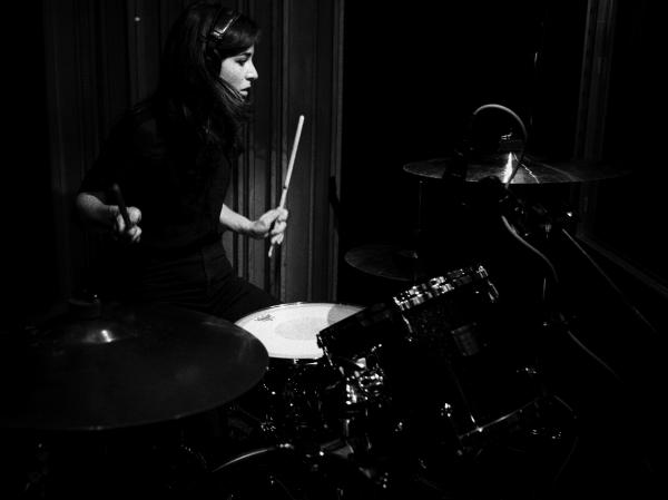 Savages drummer Fay Milton performs during the band's visit to KCRW.
