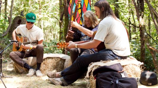 "Ty Segall (middle) and his band perform ""Sleeper"" at the 2013 Pickathon for KEXP."