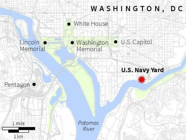 The location of the U.S. Navy Yard in Washington, D.C., where a shooting took place on Monday.