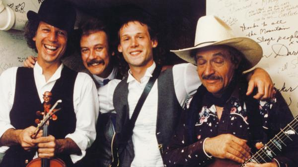 From left to right: John Hartford, Tony Rice, Jamie Hartford and Ramblin' Jack Elliott at <em>Mountain Stage</em> in 1989.