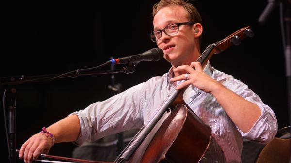 Ben Sollee performing live on <em>Mountain Stage</em>.