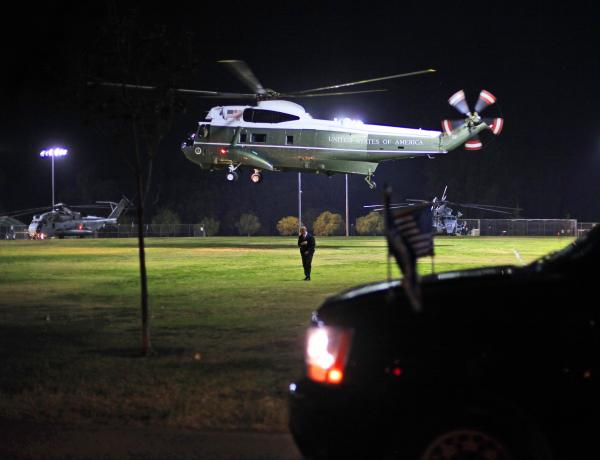 Marine One, with President Obama aboard, lands at a Los Angeles park on Monday as part of Obama's three-day West Coast trip that combined fundraising and official business.