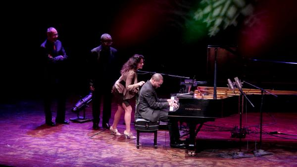 "Left to right: Stanley Cowell, Andy Bey, Michele Rosewoman and Sullivan Fortner team up on ""Jingle Bells"" during <em>A Jazz Piano Christmas</em>."