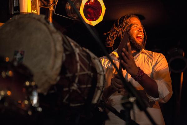 "Percussionist Vernon Catlein from KiT, whose name stands for ""Kuenta i Tambu"" — ""Stories and Rhythms"" in the Antillean language of Papiamentu."