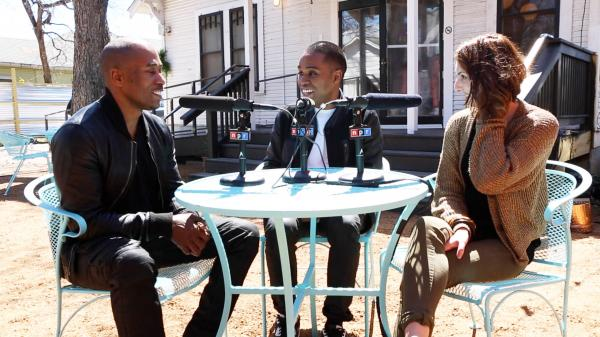 Lunice, center, being interviewed by <em>Microphone Check</em>'s Ali Shaheed Muhammed, left, and Frannie Kelley, right.
