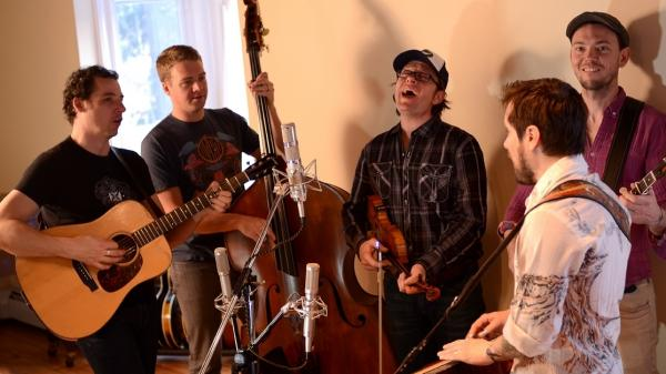 The Infamous Stringdusters, performing at Beehive Studios in Saranac Lake, N.Y.