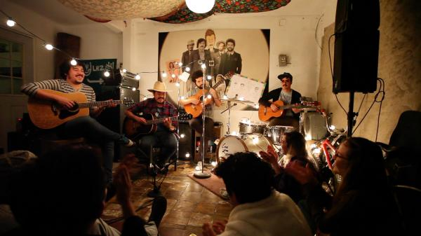 Los Romanticos de Zacatecas, performing for a video shoot in Mexico City.