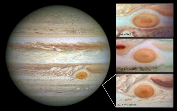 NASA images showing Jupiter's gradually shrinking Great Red Spot.