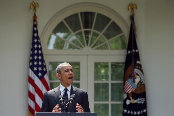 President Barack Obama speaks about troop pullout from Afghanistan at the White House on May 27. The administration's plan is to keep a contingency force of 9,800 U.S. troops in Afghanistan beyond 2014, consolidating them in Kabul and on Bagram Air Base.  (Alex Wong/Getty Images)