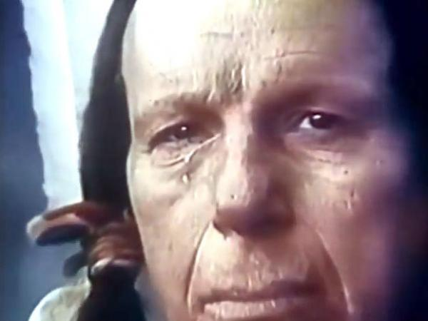 A screenshot of the well-known public service announcement from the 1970s about litter, which features a crying Iron Eyes Cody.