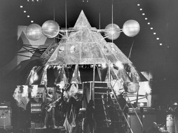 George Clinton emerges from Parliament-Funkadelic's Mothership on June 4, 1977, at the Coliseum in Los Angeles.